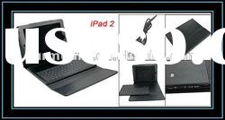 Magnetic Flap Closure Faux Leather Protective Case Black w bluetooth Keyboard for iPad 2