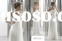 New Model One-shoulder Ruffled White Wedding and Evening Dress