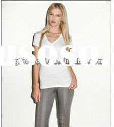 Newest high quality Ladies Jersey Deep V-Neck T-Shirt supplier