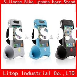 Non-toxic colorful Bike silicone Amplifier for Iphone with silicone case cover Skin Accessory