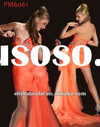 Orange Tulle Short/Mini sweetheart Asymmetrical Appliqued Bodice Quick Delivery Prom Dresses