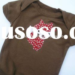 Organic Cotton Fox Applique Baby Bodysuit Children Clothing Acorn Brown 12-18 Months Short Sleeve