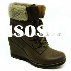 PU boots for women slipsole winter boots with string very warm