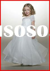 PYN2190 A Line Short Sleeve Applique Organza Flower Girl Dresses Patterns 2012