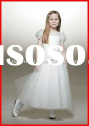 PYN2191 A Line Short Sleeve Applique Tulle Flower Girl Dresses 2012