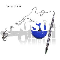Plastic desk pen set ball pen with round stand and chain