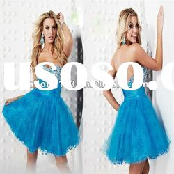 Princess Ball Gown Beaded Sweetheart Blue Homecoming Dress