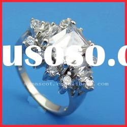 Pure and shining style crystal jewelry 925 silver ring
