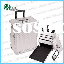 Rolling Professional Makeup Artist Train Cosmetic Case with Drawers