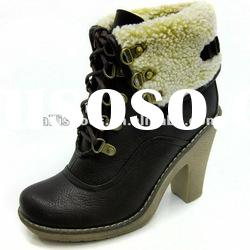Rubber sole boots for women high heel winter boots with string very warm