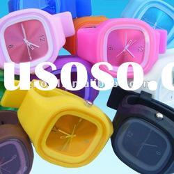 Square shape geneva silicone jelly watch waterproof silicone bracelet watch