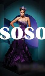 TE-16 2011 Courtlike purple strapless with swarovski crystals taffeta layered trumpet Evening dress