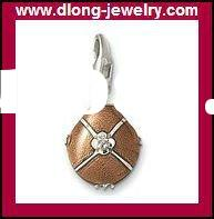 TMS983 Fashion 925 Silver Charm,TMS Brown Egg Charm With Diamond,Pendant