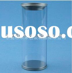 Transparent plastic round box with tin lid