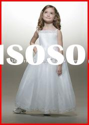 White Princess Ball Gown Spaghetti strap Applique Organza Flower Girl Dress for Weddings 2012