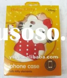 Wholesale - Hello KITTY 4D Plastic Hard Cover Case Back Protector Case for 4 Accessories