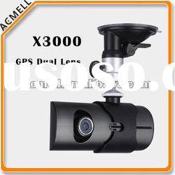 X3000 Dual Cameras G-Sensor GPS car video recorder with gps