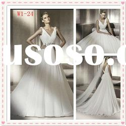 affordable party ravish A-line satin ruffle lace beaded V neck wedding dress bustier W1-24