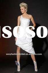 asymmetric one shoulder bead accented asymmetric short wedding dresses