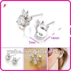 cheap fashion hot sale clear leaf earrings jewelry (E630697)