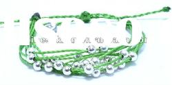 color cotton wax cord bracelet, DIY string woven bracelet with custom logo tag, promotion gfits