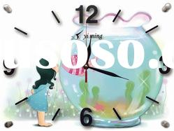 frameless glass decorative wall clock