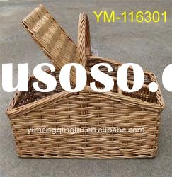 full wicker picnic basket with lids