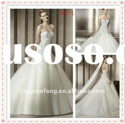 new arrival fancy fairy A-line strapless tulle satin lace beaded ball gown wedding dress W1-1