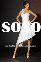 one shoulder handmade flowers accented asymmetric short wedding dresses