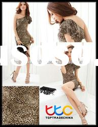 party dresses for women one shoulder dress Y1085-2 coffee leopard
