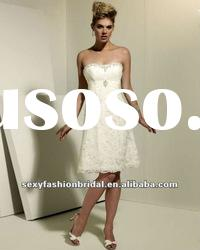 sweetheart ruffle beads accented knee length lace wedding dress