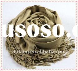 the newest hot sell long beige 100% artificial cotton scarf