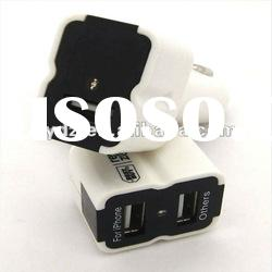 two port travel mobile phone Charger Adapter USB for IPod