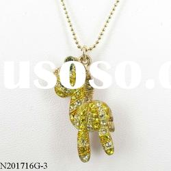 valentine's day gifts yellow crystal zebra pendant lovely necklace style2