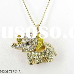 valentine's day yellow and white crystal elephant pendant necklace style3