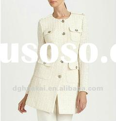 women's designer brand fashion thick outwear with button long white coat HK-C060503