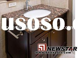 wooden bathroom cabinet with granite vanity top and ceramic sink