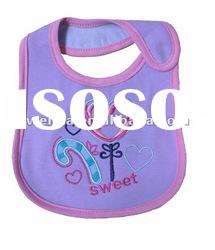 100% cotton double layer interlock emberoideried baby bibs