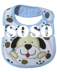 100% cotton interlock fabric applique lovely dog baby bibs