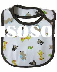 100% cotton interlock fabric printing monkey baby bibs