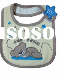 100% cotton interlock fabric with emberoideried bear baby bibs