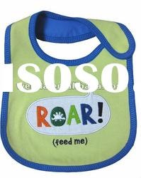 100% cotton interlock fabric with embroidered letter baby bibs
