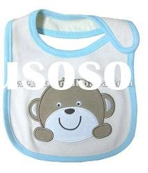 100% cotton interlock fabric with lovely monkey baby bibs
