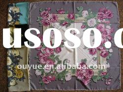 100% pure silk scarf with rose printing