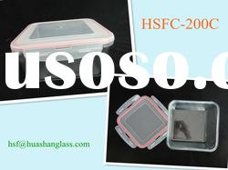 1900ml square glass contianer with pp lid/food storage container/