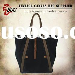2012 Latest Vintage Fashion Black Cotton Canvas Tote Bag With Leather For Men/Women/Teens/Young