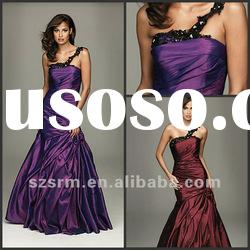 2012 Simple One-shoulder Pleat Taffeta A-Line Party Dresses Evening Dresses