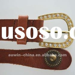 2012 fashion genuine leather women's rhinestone buckle belt