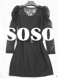 2012 hot branded long-sleeve with belt lace with knitted dress/dresses