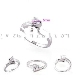 2012 latest style white gold plated copper ring with stone 190298